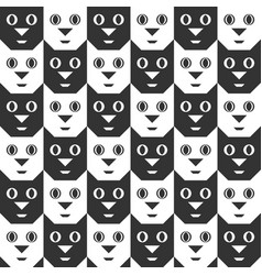Black and white cat faces seamless pattern vector