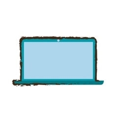 Blue laptop technology electronic gadget sketch vector