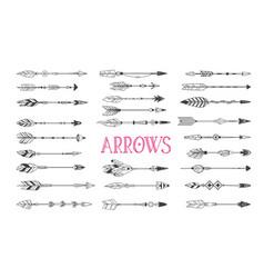 Boho arrows set drawn ink tattoo elements vector