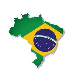 Brazil flag amp map vector