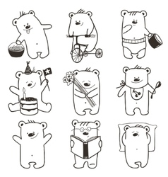 Cartoon Baby Bears in Action Collection vector image