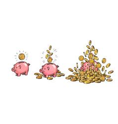 Cartoon piggy bank and gold coins set piggy with vector
