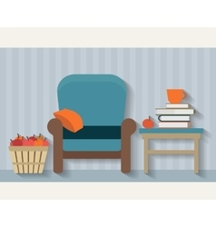 Chair books and apples vector