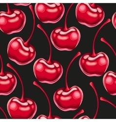 Cherries fruit seamless pattern vector