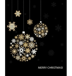 Christmas greeting card with golden balls vector