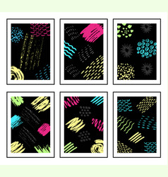 colorful ink brushes grunge patterns hand drawing vector image