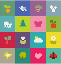 Colorful nature Icons set vector image