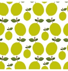Colorful pattern of lemons with stem and leafs vector