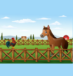 Cute cartoon rooster and horse in the farm vector