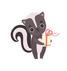 cute little skunk with gift box adorable baby vector image