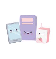 Cute smartphone book and box juice kawaii cartoon vector