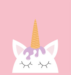 Cute unicorn head face ice cream hair wafer cone vector