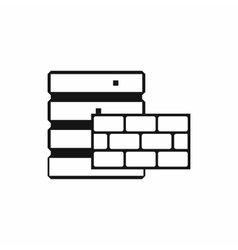 Database and brick wall icon simple style vector image