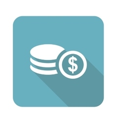 Dollar rouleau icon square vector