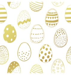 Easter eggs gold seamless pattern vector