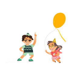 flat boy dancing girl running with balloon vector image