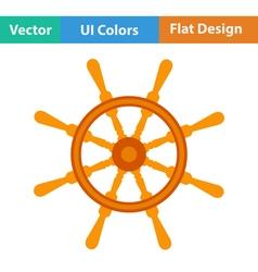 Flat design icon of steering wheel vector image