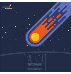 Flat design meteorite flame mock up vector