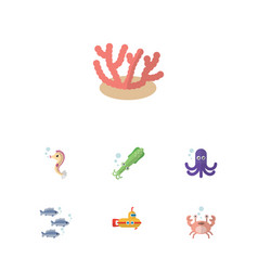 Flat icon sea set of algae tentacle cancer and vector