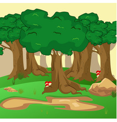 Forest scene with trail in the woods vector