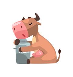 funny brown cow hugging milk can farm animal vector image