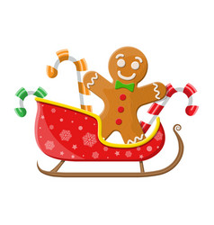 Gingerbread man cookie candycane in santa sleigh vector