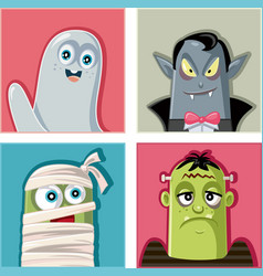 halloween monsters characters vector image