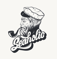 hand drawn captain with pipe tattoo artwork in vector image