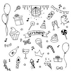 Hand drawn doodle party set cerebrate decoration vector