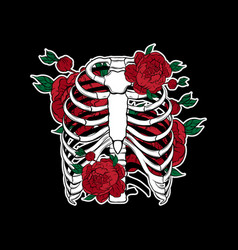 Hand drawn of human ribs with flowers isolated vector