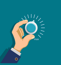 hand rotates the thermostat vector image