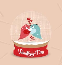 Happy valentines day with couple bird heart globe vector