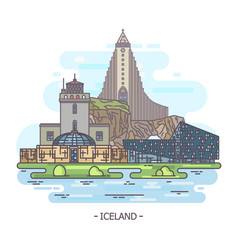 Iceland architecture landmarks iceland monuments vector