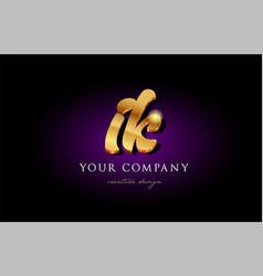 Ik i k 3d gold golden alphabet letter metal logo vector