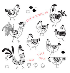 images chickens hens cocks eggs in vector image