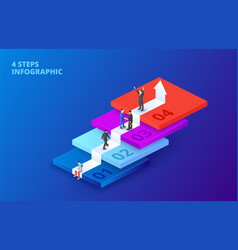 isometric stairs with people infographic on vector image