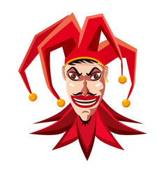 Jester in red hat icon cartoon style vector