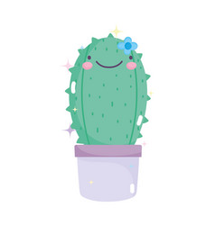 kawaii gardening cartoon happy cactus in pot vector image
