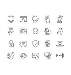 Line Security Icons vector image