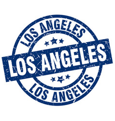 Los angeles blue round grunge stamp vector