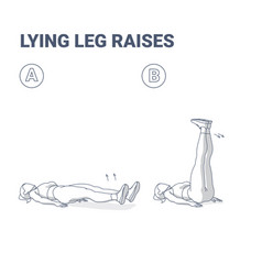 Lying leg raises girl home workout exercise vector