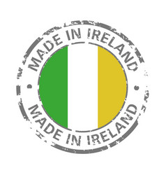 made in ireland flag grunge icon vector image