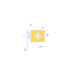 Medical hospital flagpole icon desige vector