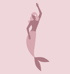 Mermaid silhouette isolated with a starfish vector