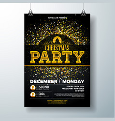 Merry christmas party poster design template with vector
