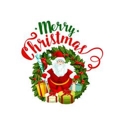 merry christmas santa greeting icon vector image