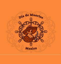 Mexican girl in a sombrero holds candles vector