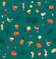 Modern exotic tropical hawaiian fruits and plants vector
