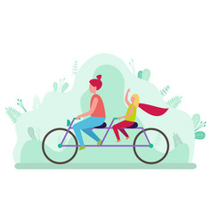 mother and daughter riding double bicycle vector image