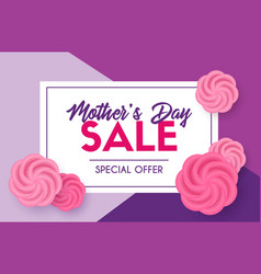 Mothers day sale discount template card vector